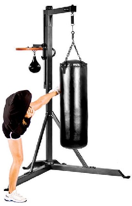 This heavy bag stand has a speedbag platform and a heavy gauge steel frame  that holds up to a 100 lbs. heavy bag. e2d54fc6d