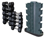 Rubber Hex Head Dumbbell Set /5-50 with Rack