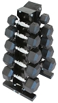 FITTRAX RUBBER HEX DUMBBELL SET - 5 - 25 lbs. - 5 PAIRS WITH RACK
