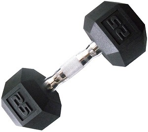 CAP PVC-COATED HEX DUMBBELL WITH CONTOURED CHROME HAND GRIP